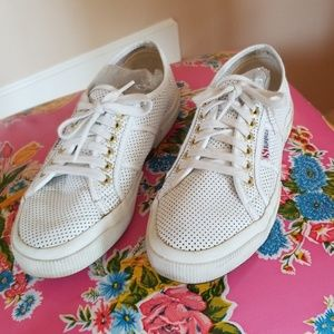 Chic Superga White Leather Perforated Tennis Shoes